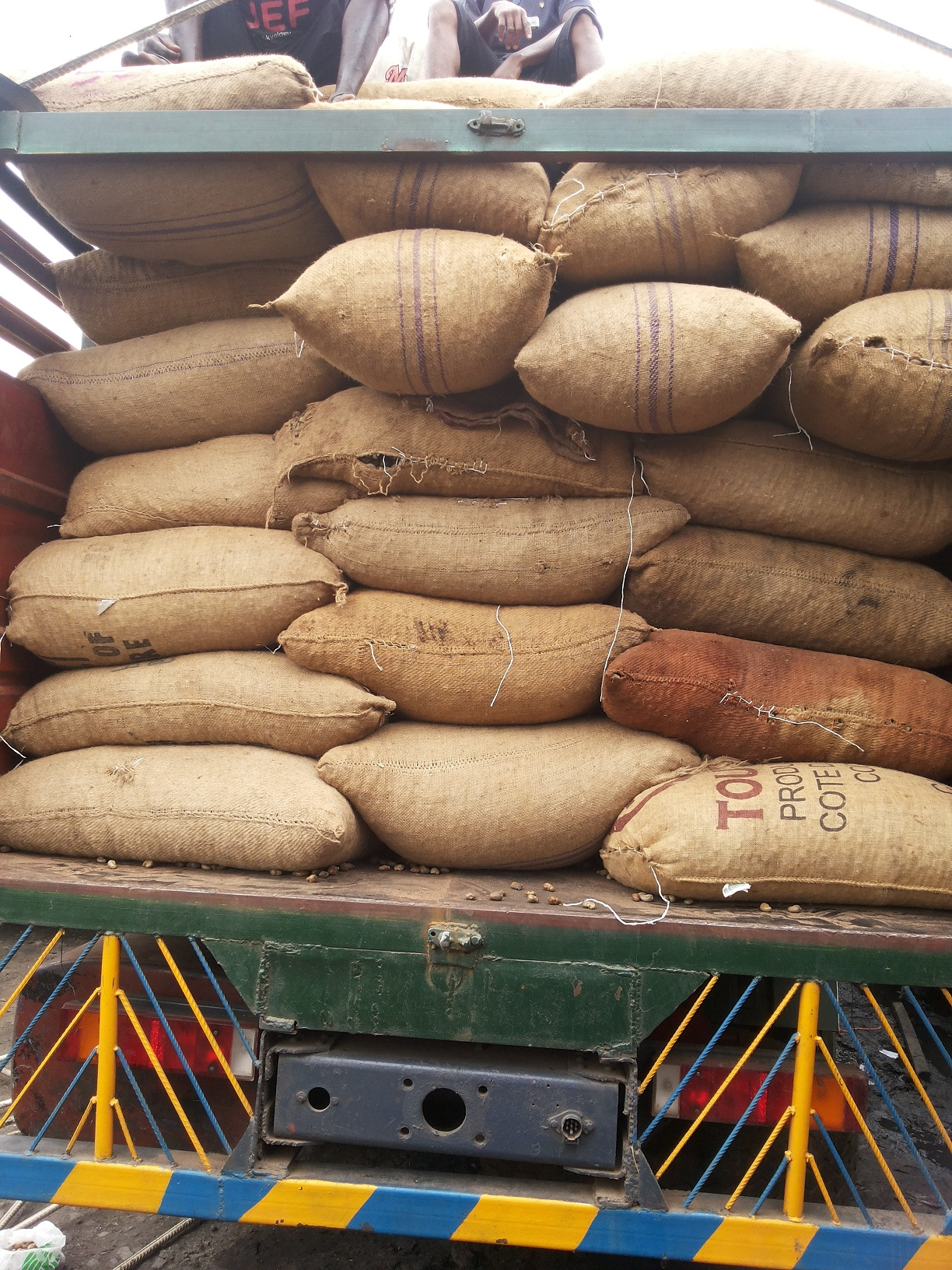 cashew bags on truck